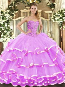 Sleeveless Floor Length Beading and Ruffled Layers Lace Up Quinceanera Dress with Lilac