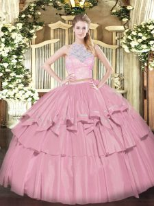 Fine Baby Pink Zipper 15th Birthday Dress Lace and Ruffled Layers Sleeveless Floor Length