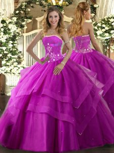 Fuchsia Tulle Lace Up Strapless Sleeveless Floor Length 15 Quinceanera Dress Beading and Ruffled Layers
