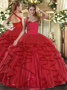 Spectacular Wine Red Lace Up Ball Gown Prom Dress Ruffles Sleeveless Floor Length