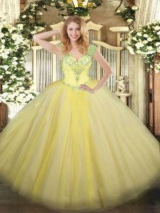 Popular Light Yellow Ball Gowns V-neck Sleeveless Tulle Floor Length Lace Up Beading Sweet 16 Dress