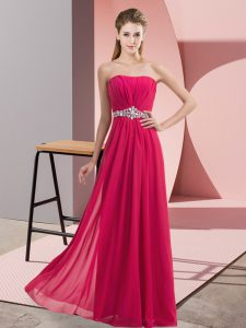 Pretty Sleeveless Floor Length Lace Zipper Prom Dress with Hot Pink