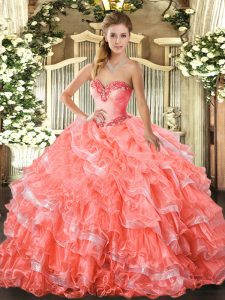 Sleeveless Beading and Ruffled Layers Lace Up Ball Gown Prom Dress