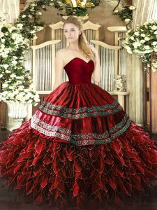 Embroidery and Ruffles Ball Gown Prom Dress Wine Red Zipper Sleeveless Floor Length