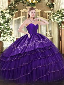 Organza and Taffeta Sleeveless Floor Length Quinceanera Dress and Embroidery and Ruffled Layers