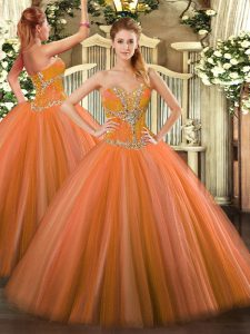 Tulle Sweetheart Sleeveless Lace Up Beading Quinceanera Dresses in Orange Red
