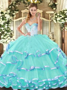 Artistic Sleeveless Floor Length Beading and Ruffled Layers Lace Up Sweet 16 Quinceanera Dress with Turquoise