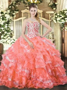 Latest Watermelon Red Sleeveless Organza Lace Up Sweet 16 Dress for Military Ball and Sweet 16 and Quinceanera