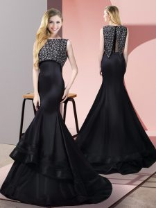 Floor Length Zipper Homecoming Dress Black for Prom and Party with Beading Sweep Train