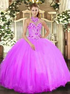 Designer Sleeveless Tulle Floor Length Lace Up Womens Party Dresses in Lilac with Beading and Embroidery