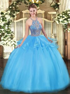 Aqua Blue Lace Up Halter Top Beading and Ruffles Quinceanera Gowns Tulle Sleeveless