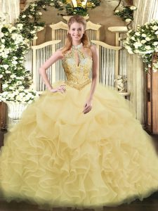 Modern Champagne Sleeveless Floor Length Beading and Ruffles Lace Up Quince Ball Gowns