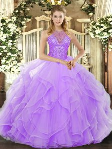 Captivating Organza High-neck Sleeveless Lace Up Beading and Ruffles Quinceanera Gown in Lavender