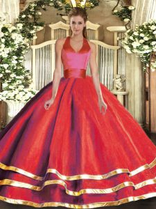 Deluxe Tulle Sleeveless Floor Length Vestidos de Quinceanera and Ruffled Layers
