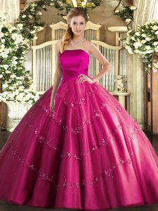 Sleeveless Appliques Lace Up Ball Gown Prom Dress