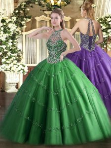 Tulle Halter Top Sleeveless Lace Up Beading Quinceanera Gowns in Green