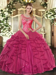 Hot Pink Sleeveless Tulle Lace Up Quince Ball Gowns for Sweet 16 and Quinceanera