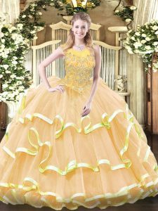 Custom Designed Beading and Ruffled Layers Quinceanera Gowns Gold Zipper Sleeveless Floor Length