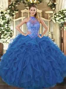 Perfect Blue Organza Lace Up Halter Top Sleeveless Floor Length Quinceanera Dresses Beading and Embroidery and Ruffles