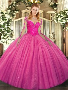 Hot Pink Tulle Lace Up 15th Birthday Dress Long Sleeves Floor Length Lace
