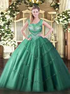 Charming Sleeveless Floor Length Beading and Appliques Lace Up Quinceanera Gown with Dark Green