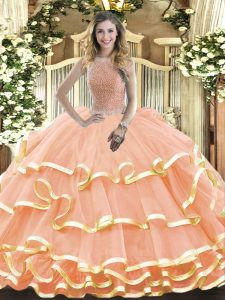 Peach High-neck Neckline Beading and Ruffled Layers 15th Birthday Dress Sleeveless Lace Up