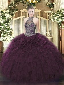 Beading and Ruffles 15 Quinceanera Dress Dark Purple Lace Up Sleeveless Floor Length