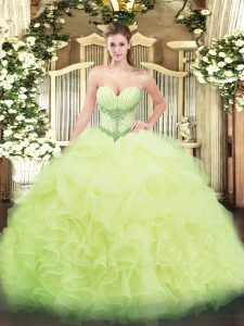 Glamorous Floor Length Yellow Green 15 Quinceanera Dress Organza Sleeveless Beading and Ruffles and Pick Ups