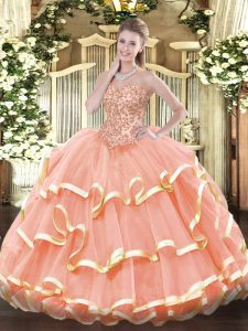 Peach Organza Lace Up Quince Ball Gowns Sleeveless Floor Length Appliques and Ruffled Layers
