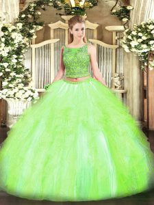 Super Sleeveless Lace Up Floor Length Beading and Ruffles Sweet 16 Dresses