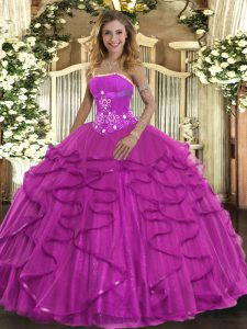 Affordable Sleeveless Floor Length Beading and Ruffles Lace Up Quinceanera Gowns with Fuchsia