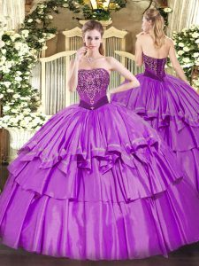 Custom Fit Lilac Organza and Taffeta Lace Up Strapless Sleeveless Floor Length Vestidos de Quinceanera Beading and Ruffled Layers