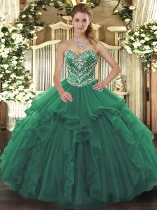 Sleeveless Tulle Floor Length Lace Up Quince Ball Gowns in Green with Beading and Ruffles