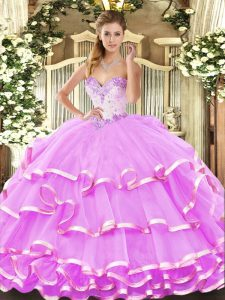 Lilac Lace Up Quinceanera Dress Beading and Ruffled Layers Sleeveless Floor Length
