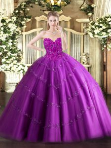Designer Fuchsia Lace Up Quince Ball Gowns Beading Sleeveless Floor Length