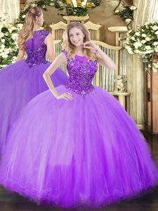 Scoop Sleeveless Tulle Vestidos de Quinceanera Beading Zipper