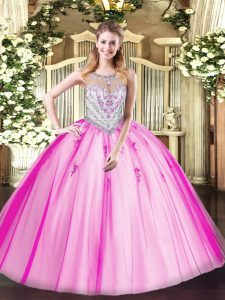 Exceptional Scoop Sleeveless Quinceanera Gowns Floor Length Beading and Appliques Lilac Tulle