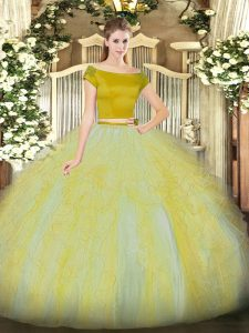 Off The Shoulder Short Sleeves Tulle Quinceanera Gowns Ruffles Zipper