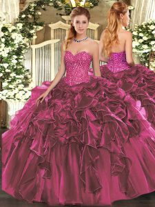 Burgundy Ball Gowns Sweetheart Sleeveless Organza Floor Length Lace Up Beading and Ruffles Quinceanera Gown