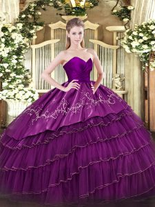 Eggplant Purple Sleeveless Organza and Taffeta Zipper Quinceanera Gowns for Military Ball and Sweet 16 and Quinceanera