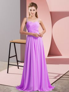 High Quality Lilac Spaghetti Straps Neckline Ruching Dress for Prom Sleeveless Backless
