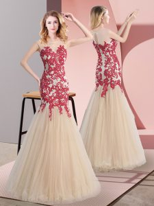 Scoop Sleeveless Homecoming Dress Floor Length Appliques Champagne Tulle