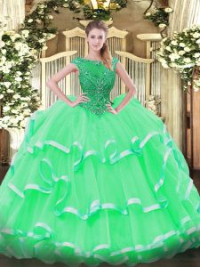Floor Length Ball Gowns Sleeveless Apple Green Quince Ball Gowns Lace Up