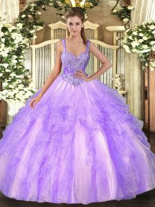 Modern Straps Sleeveless Tulle Sweet 16 Dress Beading and Ruffles Lace Up