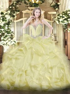 Sumptuous Yellow Lace Up Sweetheart Beading and Ruffles Party Dress Organza Sleeveless