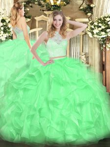 Unique Apple Green Scoop Zipper Lace and Ruffles Sweet 16 Dresses Sleeveless
