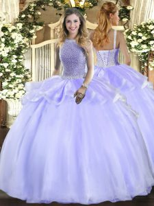 Lavender Organza Lace Up Square Sleeveless Floor Length Quinceanera Dress Beading