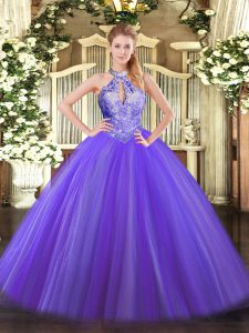 Purple Ball Gowns Halter Top Sleeveless Tulle Floor Length Lace Up Sequins Quinceanera Gown