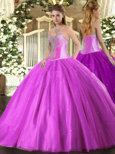 Sweet Lilac Tulle Lace Up Quinceanera Dress Sleeveless Floor Length Beading