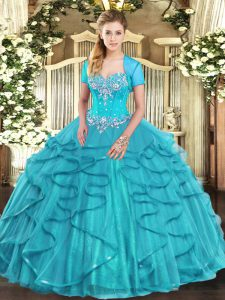 Floor Length Aqua Blue Quinceanera Gown Sweetheart Sleeveless Lace Up